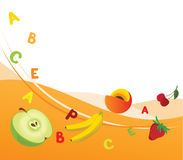 Fresh vitamins. Combined illustration of fruit background with the vitamins Stock Photos