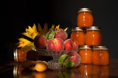 Fresh peaches apricot and jam Stock Images