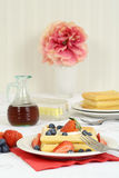 Fresh waffle dessert with berries. And a fork Royalty Free Stock Image