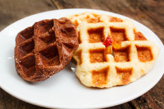 Fresh waffle on plate. Stock Photography