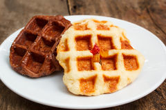 Fresh waffle on plate. Stock Photos