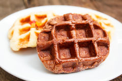 Fresh waffle on plate. Royalty Free Stock Photos