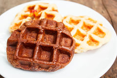 Fresh waffle on plate. Royalty Free Stock Photography