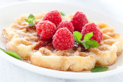 Fresh waffle with raspberries Stock Images
