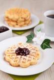 Fresh waffle with sugar powder Stock Photo