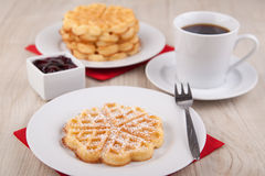 Fresh waffle with sugar powder Stock Photography