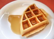 Fresh waffle with sweet syrup Stock Photo