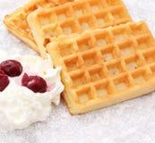 Fresh waffles. Some fresh waffles with cream Stock Photo