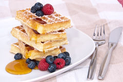 Fresh waffles with fruits and sirup Royalty Free Stock Images