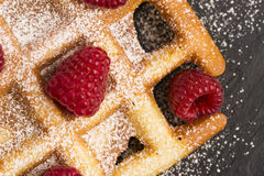 Fresh waffles garnished with powdered sugar and raspberries Stock Photos