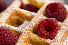 Fresh waffles garnished with powdered sugar and raspberries Stock Images