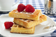 Fresh waffles with raspberries closeup Stock Image