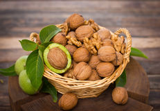 Fresh walnuts in the basket Royalty Free Stock Photos