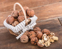 Fresh walnuts in basket Royalty Free Stock Images