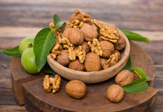 Fresh walnuts in the bowl Stock Photos