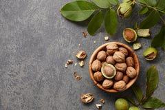 Fresh walnuts bowl Royalty Free Stock Images