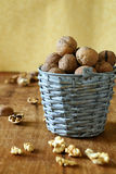 Fresh walnuts in a bucket and shells Royalty Free Stock Photo