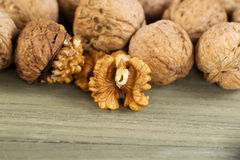 Fresh Walnuts on faded wood Royalty Free Stock Photography