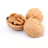 Fresh walnuts isolated on white Royalty Free Stock Photography