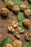 Walnuts. Fresh walnuts on an old wooden table Stock Image