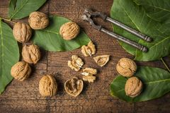 Walnuts. Fresh walnuts on an old wooden table Stock Photo