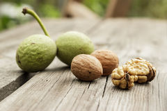 Fresh walnuts on the wooden table Royalty Free Stock Photography