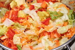 Fresh washed chopped lettuce salad Royalty Free Stock Photos