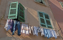 Fresh washed clothes in Marseille in France Royalty Free Stock Photo