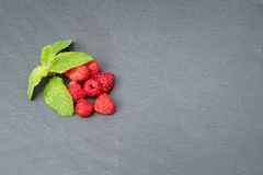 Fresh washed raspberries and mint leaves. Organic berries on grey slate stone board. Top view, space for text. Fresh washed raspberries and mint leaves. Organic Stock Photography