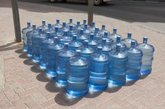 Fresh water bottles in Dubai city street, Deira. UAE