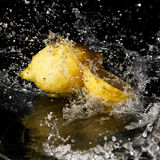 Fresh water drops on lemon Stock Photo