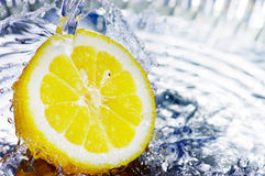 Fresh water drops on lemon Royalty Free Stock Photography