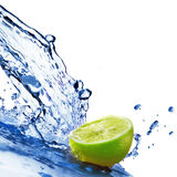 Fresh water drops on lime isolated on white Stock Photos