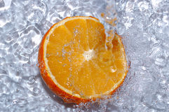 Fresh water drops on orange Royalty Free Stock Photography