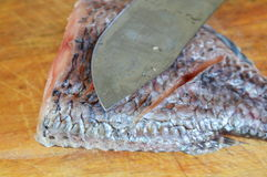 Fresh water fish and knife prepare for cook on wooden chop block Royalty Free Stock Image