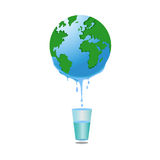 Fresh water flow down from Earth. Planet in glass, vector illustration Royalty Free Stock Photography