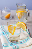 Fresh water with lemon in the glass Stock Photo