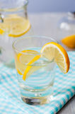 Fresh water with lemon in the glass Royalty Free Stock Photography