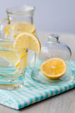 Fresh water with lemon in the glass Stock Image