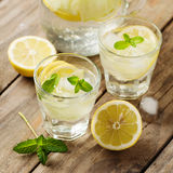 Fresh water with lemon, mint and cucumber. Selective focus and square image Stock Photo