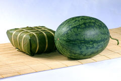 Fresh water melon and rice cake Royalty Free Stock Photos