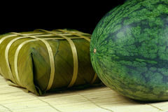 Fresh water melon and rice cake Royalty Free Stock Photography