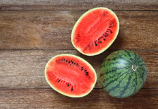 Fresh water melons on wood Royalty Free Stock Images
