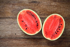 Fresh water melons on wood Royalty Free Stock Photo