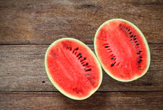 Fresh water melons on wood Stock Photo