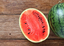 Fresh water melons on wood Royalty Free Stock Photography