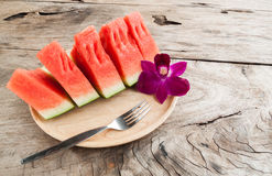 Fresh water melons on wood background Stock Photo