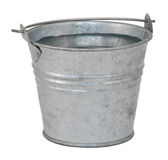 Fresh water in a miniature metal bucket royalty free stock photo