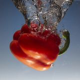 Fresh water splash on red sweet pepper on blue background. Close up stock photo