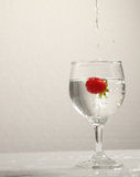 Fresh water with strawberry in glass. Photograph of fresh strawberry with water and glass Stock Photo